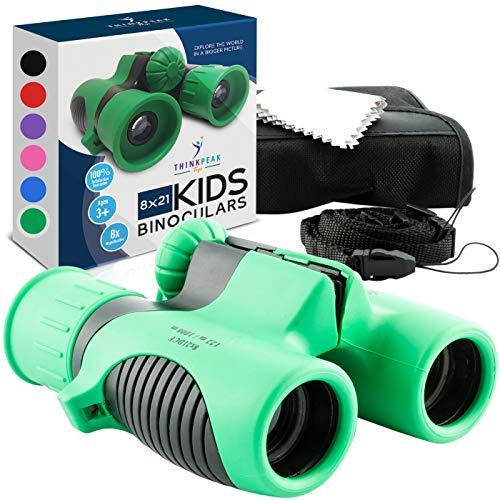 Prismáticos para niños, pequeños, compactos, resistentes a los golpes, juguetes de aprendizaje y exploración de la naturaleza, para niñas y niños de más de 4 años – Think Peak Toys Prismáticos para niños, color verde