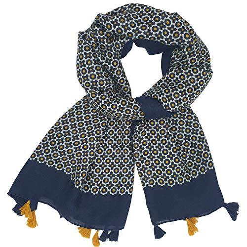 Sjaal voor dames, 6 kleuren, marineblauw, mosterdgeel, rood, bordeaux, zwart, groen, oranje, bloemenmotief, damessjaal, winter, viscose, hoogwaardige kwaliteit, dik en zeer zacht, cadeau-idee
