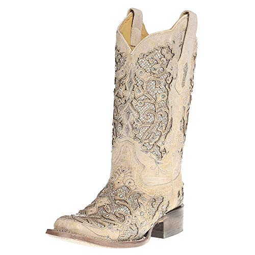 Corral Boot Company Womens Ladies Glitter/Crystals Square Toe Cowgirl Boots 6 B(M) US White