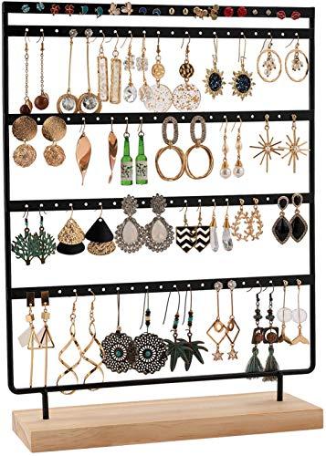 QILICZ Présentoir à bijoux avec 100 trous - 5 animaux - En métal - Avec base en bois - 35 x 27 cm