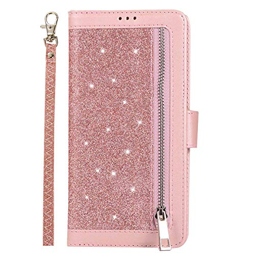 DENDICO Galaxy S8 Plus Hülle Flip Glitzern Handyhülle Magnetisch Schutzhülle, Brieftasche Kartenfach Geldklammer Standfunktion für Samsung Galaxy S8 Plus - Rose Gold