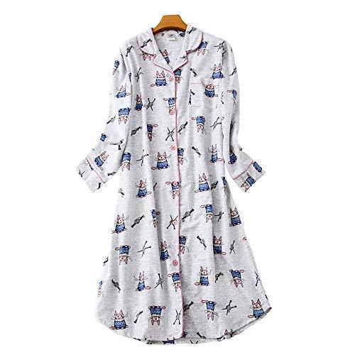 Misscoo Weihnachts-Nachthemd für Damen, Schneeflocken, bedruckt, Baumwolle, Nachthemd für Damen, Mädchen, Studenten, lange Ärmel, Knopfleiste Gr. 46, grau