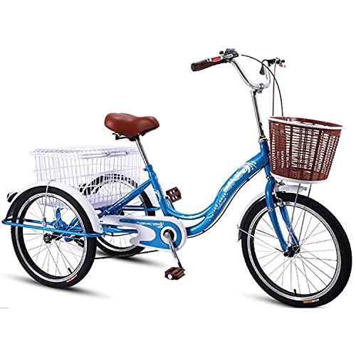 Triciclo para adultos bicicleta 20in Triciclo Para Adultos Marco De Acero De Alto Carbono Bicicleta Adulta Con Cesta De Compras Tres Ruedas Crucero Bicicleta Para Personas Mayores, Mujeres(Color:Azul)