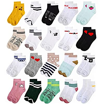 Amazon - 50% Off on 20 Pairs Girls Socks for Young Girls Teens Soft No Show Sox Ankle Cut Low Cut