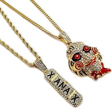 BLINGFACTORY Hip Hop Iced Gold Plated Saw Xanax Pendant 3mm 20 24 Rope Cuban Chain Necklace product image