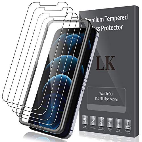 LK Protector Pantalla Compatible con iPhone 12 Pro MAX 6.7 Pulgada,5 Pack, Contiene 4 Pack Protector de Pantalla y 1 Pack Marco de Posicionamiento,Cristal Vidrio Templado