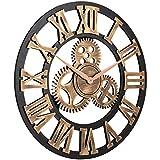 Berrywho Reloj de Pared número Romano, tictac del Reloj de Engranajes para no Metal de Oro 40cm del Arte Retro Gran Sala de Estar decoración de la Pared