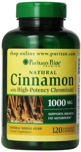 Puritan's Pride Cinnamon Capsules with High Potency Chromium, 1000 mg, 120 Count