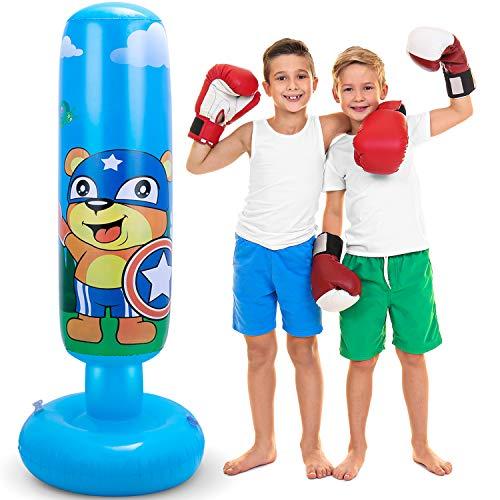 Leohome Aufblasbarer Boxsack mit Ständer für Kinder, 119,4 cm, freistehend, schwerer Boxsack für Kinder, MMA, blau