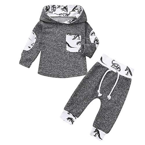 Sumeiwilly-Baby Born Kleidung Set Jumpsuit Kapuzenpullover Overall Baby Unisex Kleidung Babykleidung Jungen Mädchen Cartoon Dinosaurier Print Tops +Hosen Outfits 2pcs Set Kleidung