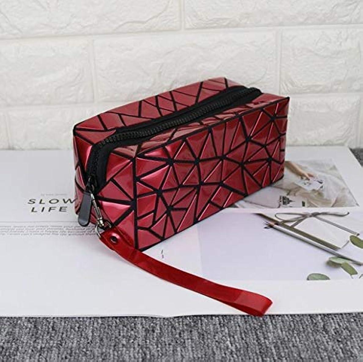 組み込む暫定電気Portable Makeup Bag LLPレーザー折り畳み式の幾何学Lingge防水ポータブルレディーコスメティックバッグガールポータブル大容量(ブラック) (色 : Burgundy)