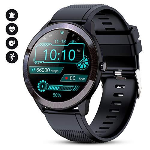 GOKOO Smartwatch Herren IP68 Wasserdicht Touchscreen Fitness Tracker Stoppuhr Pulsuhren Spo2 Schrittzähler SMS-Erinnerung Wearable Armbanduhr Für Männer IOS Android