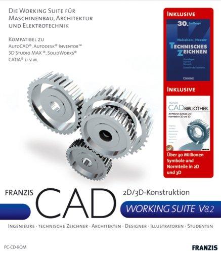 Franzis CAD Working Suite V8.2, 2 CD-ROMs u. Buch \'Technisches Zeichnen\' 2D/3D-Konstruktion. Ingenieure, Technische Zeichner, Architekten, Designer, Illustratoren, Studenten