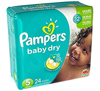 Pampers Size 5 Baby Dry Diaper 24 count per pack - 4 per case.