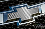 VVIVID Silver Carbon Fibre Auto Emblem Vinyl Wrap Overlay Cut-Your-Own Decal for Chevy Bowtie Grill, Rear Logo DIY Easy to Install 11.80 Inches x 4 Inches Sheets (x2)