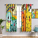 Elliot Dorothy Pokemon - Cortinas aisladas con aislamiento térmico para dormitorio de niñas (155 x 163 cm), lavable a máquina