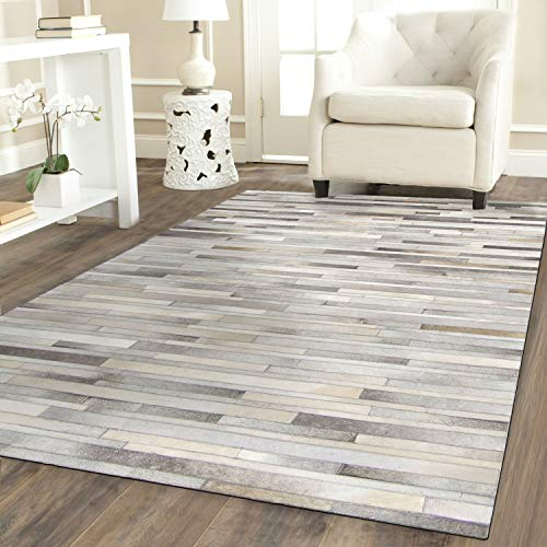 Handmade Leather Grey Cowhide Patchwork Rug - Artisans Grey Cow Hide Patchwork Leather Area Rug, Stripes (5 ft X 8 ft)