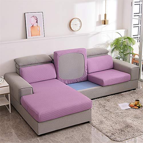 XDKS Fundas de cojín para sofá, fundas de cojín para cojines individuales, fundas de cojín elásticas Jacquard (4 plazas, morado)