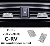HAILWH Bling Accessories Fit for Honda CRV 2017-2020 Air Conditioner Outlet Ignition Button Rhinestone Decal Cover Sticker Wreath (Silver, Air Outlet Control Pull Handle 4 Pieces/Set)