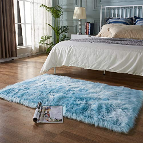 EasyJoy Ultra Soft Fluffy Rugs Faux Fur Rug Chair Cover Seat Pad Fuzzy Area Rug for Bedroom Floor Sofa Living Room (3 x 5 ft Rectangle, Sky Blue)