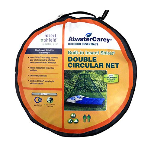 Atwater Carey Double Circular Bed Mosquito Net Treated with Insect Shield Permethrin Bug Repellent