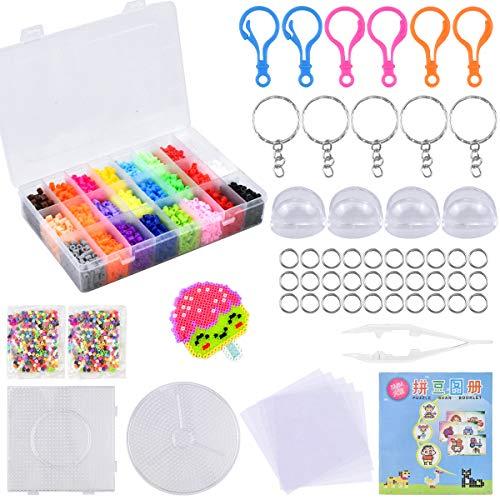 NATUCE 7500 Piezas Cuentas y Abalorios 5mm Plásticos Cuentas para Planchar de 24 Colores para DIY Manualidad para Fiesta Cumpleaños Niños