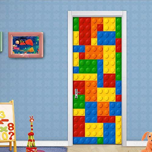 Etiqueta De La Puerta 3D Impermeable Extraíble Murales De Papel Decorativos De Estar Dormitorio Utoadhesivo A Prueba Agua Para Ladrillos De Lego