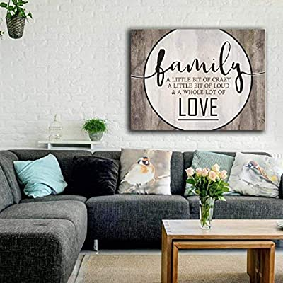 Sense of Art | This is Us a Little Bit of Crazy Whole Lot of Love Quote | Wood Framed Canvas | Ready to Hang Wall Art for Home and Bedroom Decoration by Sense of Art