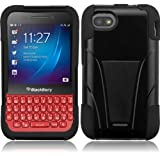 Blackberry Q5 (AT&T), LF Hybrid Dual Layer Case with Stand, Lf Stylus Pen & Wiper Accessory (Stand Black)