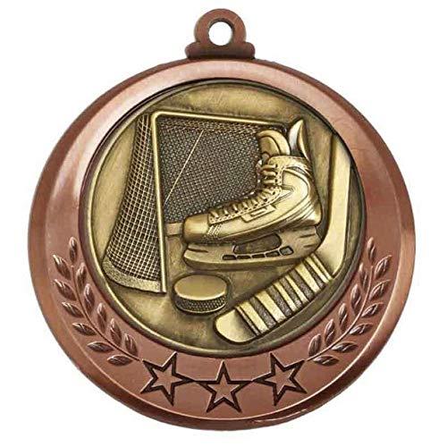 Trophy Shack Eishockey-Medaille in Antik-Bronze, 70 mm, mit Band zur Auswahl, personalisierbar mit bis zu 60 Buchstaben, AM6030.27-M018, 20 Stück