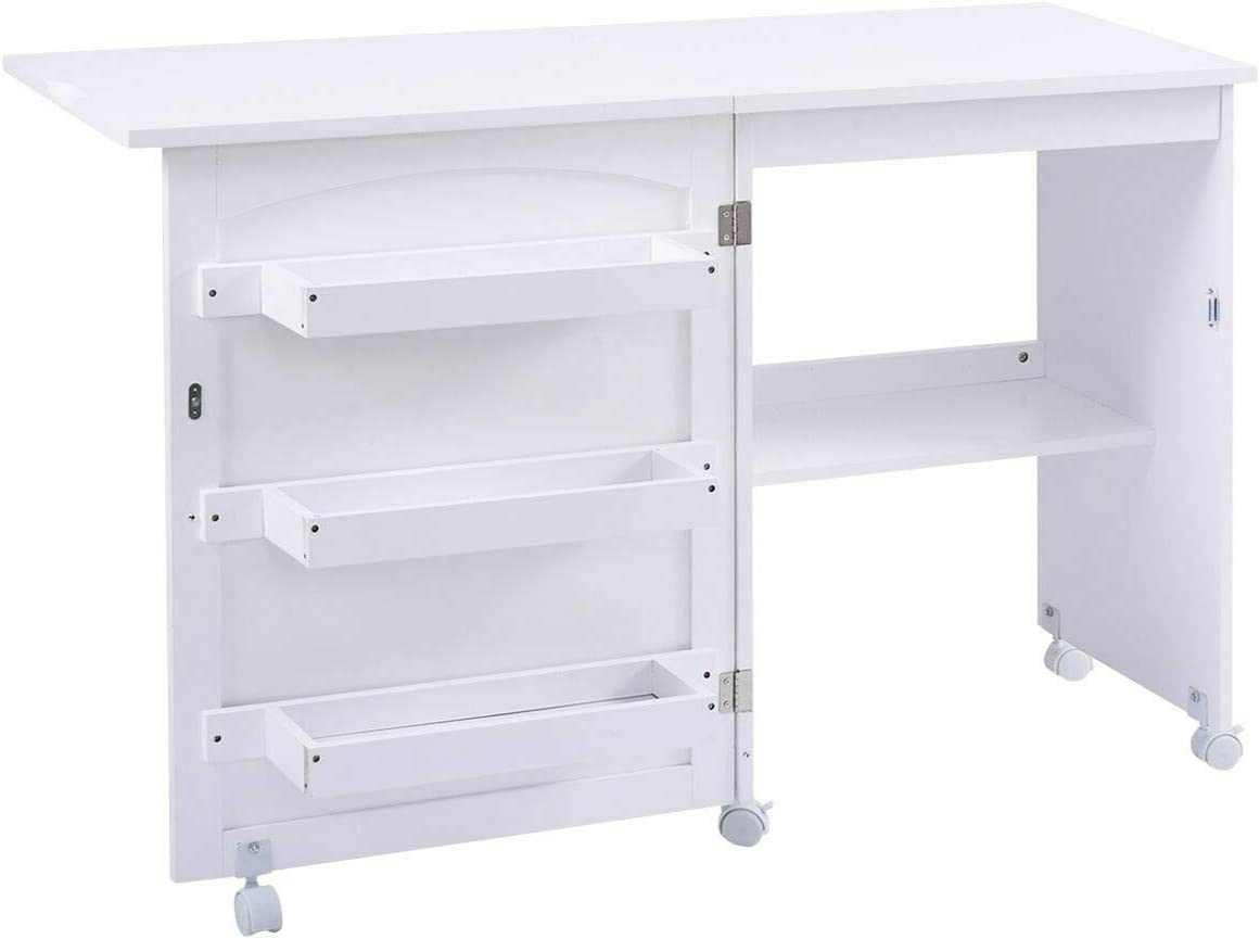 Giantex Folding Sewing Craft Table Sewing Craft Cart With Storage Shelves And Lockable Casters Folding Sewing Table For Apartment Small Spaces White 46 X16 X31