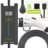 Megear Level 2 EV Charger(200-240V,25ft,6/8/10/12/16 Amp Adjustable) Portable EVSE Home Electric Vehicle...