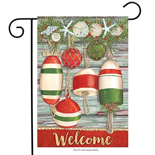 Briarwood Lane Festive Buoys Christmas Garden Flag Nautical Seashells 12.5'x18'