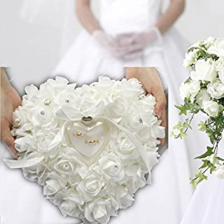 ZJchao Red Rose Heart Shaped Ring Box Ring Box Pillow Cushion Romantic Wedding Favors Jewelry Case Ring (White)