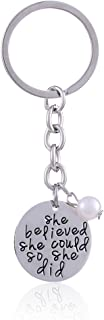 Double Pendant Silver Pearl She Believed She Could So She Did Key Chain Ring Gift for Family Friend Women