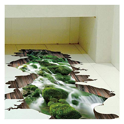 yamybox3D Creek Floor Sticker Green Flow Landscape Wall Sticker Living Room Children Room Bedroom Bathroom Home Decor Mural Decor Home Decoration Accessories,Color:50x70CM