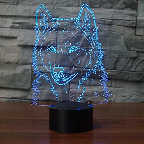 Jinson well 3D wolf kopf Nachtlicht Lampe optische Nacht licht Illusion 7 Farbwechsel Touch Switch Tisch Schreibtisch Dekoration Lampen perfekte Weihnachtsgeschenk mit Acryl Flat USB Spielzeug