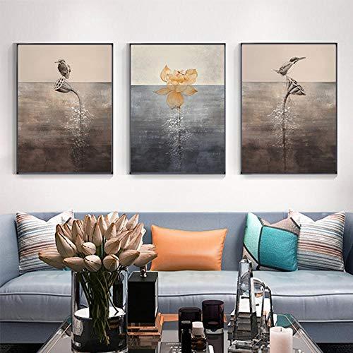 OCRTN Pinturas de paisajes japoneses Religioso Zen Cuadro de Arte de Pared Pájaro Abstracto Loto Pintura de Lienzo Póster nórdico Impresión China Deco-50x70cmx3 Sin Marco