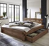 SAM Balkenbett 200x200 cm Elias, Fichten-Holz geölt, massives Holzbett mit Bettkasten, Kopfteil mit Baumkanten-Optik