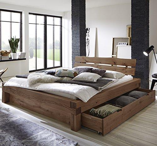 SAM Balkenbett 180x200 cm Elias, Fichten-Holz geölt, massives Holzbett mit Bettkasten, Kopfteil mit Baumkanten-Optik