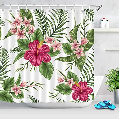LB Hawaiian Tropical Leaf Flowers Decor Shower Curtain for Bathroom, Hibiscus Plumeria Floral Plant Theme, Water Repellant Decorative Curtain, 70 x 70 Inch