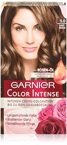 Garnier Color Intense, 5.0 Samtbraun / Dauerhafte Intensive Creme Coloration für permanente Haarfarbe (mit Perlmutt und Traubenkernöl) 3 x 1 Stück