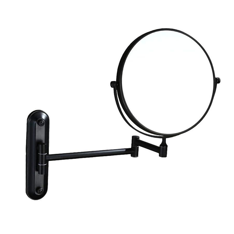 シャツうまくやる()こどもセンター化粧鏡 LED照明虫眼鏡両面回転3回虫眼鏡壁掛け美容化粧鏡調節可能なバスルーム化粧台化粧鏡化粧鏡 化粧鏡 化粧ミラー (色 : ブラック, サイズ : ワンサイズ)