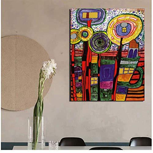 NRRTBWDHL Friedensreich Hundertwasser Kunst Leinwand Malerei Drucke Wohnzimmer Wohnkultur Moderne Wandkunst Ölgemälde Poster Bilder-50x70cm Kein Rahmen