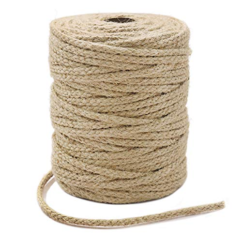Tenn Well Braided Jute Twine, 200Feet 3.5mm Wide Natural Jute Rope for Artworks and Crafts, Macrame Projects, Gardening Applications (8 Strands)