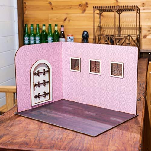 1/10スケールドールハウスL型ピンクの壁紙