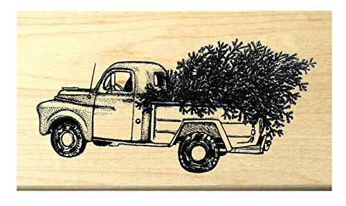 P118 Antique - Classic Pick up Truck with Christmas Tree Rubber Stamp