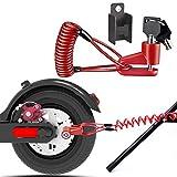 Candado de Disco, Freno Antirrobo, con Cuerda Recordatorio Scooter de Accesorios, Nueva Actualización Cerradura Antirrobo para Xiaomi Mijia M365 Patinetes eléctricos y Bicicleta (Rojo)