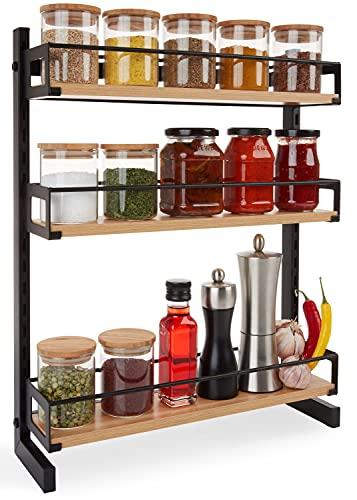 LUXESTER® Gewürzregal aus Holz & Metall [3 Etagen höhenverstellbar] hängend an der Wand   stehend auf der Küchenablage   Gewürzständer   Gewürzaufbewahrung   Küchenregal (schwarz)