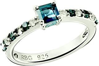 Sterling Silver 925 Ring Genuine GEMS Square 4 mm, Rhodium-Plated Finish, Stackable Style Band